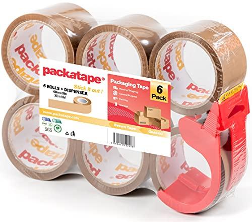 Packatape General Purpose Packaging Tape with Dispenser 6 Rolls Brown 48mm x 50m