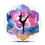 JKLMZYT Hinduismo Moderno Acuarela Om Símbolo Reloj de Pared Yoga Chica Om Reloj de Pared...