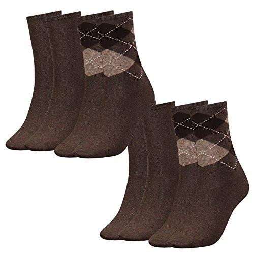 Tommy Hilfiger Damen Socken Check Casual Socken 4er Pack, Größe:35-38, Farbe:Oak (778)