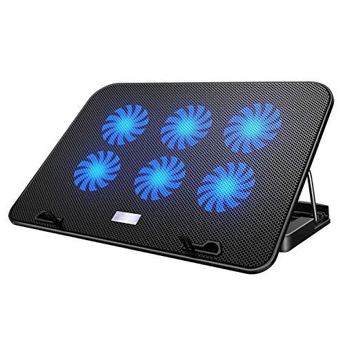 【2021年最新の 6つ冷却ファン 5段階調整 強冷 超静音】 ノートパソコン 冷却パッド 冷却台 ノートPCクーラー クール 超静音 USBポート2口 USB接続 風量調節可 高度調節可 7-17インチ ノートpc/iPad/Macbook/Macbook Pro 等に対応