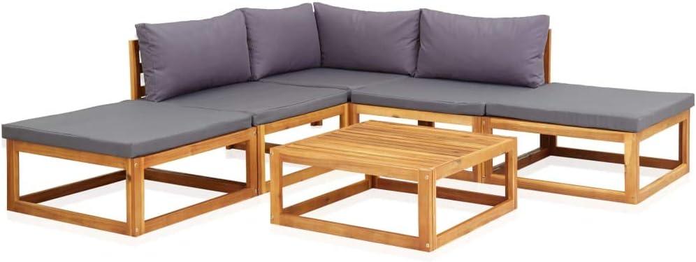 vidaXL 6 Piece Luxury Ranking TOP16 Garden Lounge Set Solid Wood Cushions Acacia with