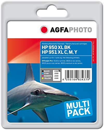 AgfaPhoto APHP950SETXLC Toner für HP OJ PRO8100(4) 1 x 2300 Seiten, schwarz, 3 x 1500 Seiten, cyan, magenta und gelb