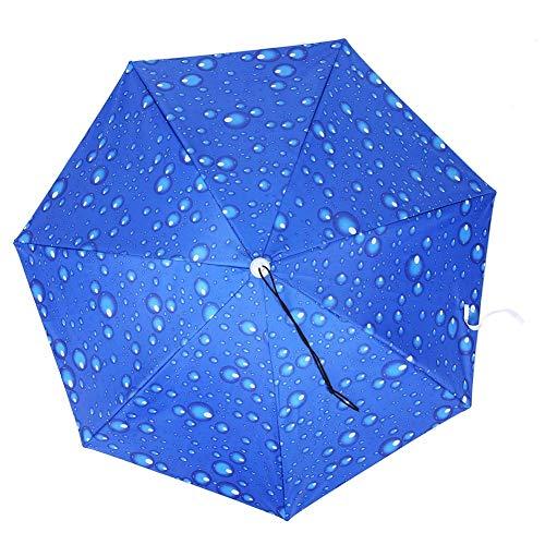 Haokaini Sombrero de Paraguas de Pesca Sol Plegable Gorro de Lluvia Paraguas Ajustables Montados en La Cabeza Paraguas de Sombrero de Copa