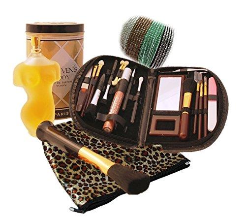 Geschenkset, Schmink, Pinselset - 20 teilig mit Etui, Kosmetiktasche, Stirnband + Parfum Haevens Body-Büste in Dose
