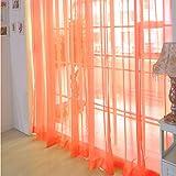 Balock Schuhe Voile Vorhang,Einfarbiges Glasgarn Vorhang,Soft Voile Vorhänge Schlafzimmer Transparent Vorhang,für Wohnzimmer Schlafzimmer,94.48 * 59.05zoll,1 Stück (Orange)