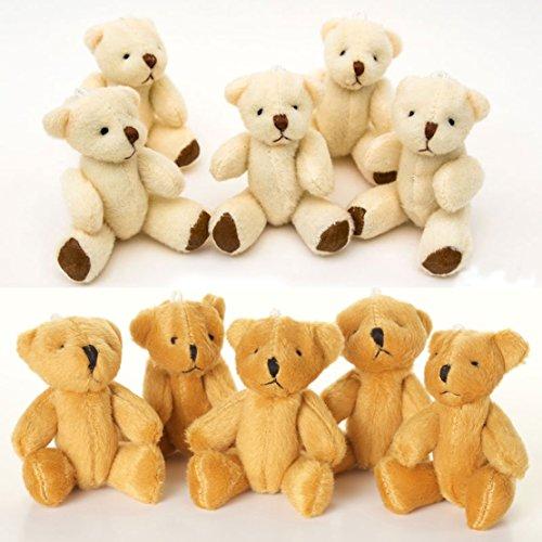 London Teddy Bears NEU - 10 X TEDDYBÄR - 5 X Braun 5 X Weiß - Klein Niedlich Weich Kuschelig – Geschenk Geburtstag Weihnachten