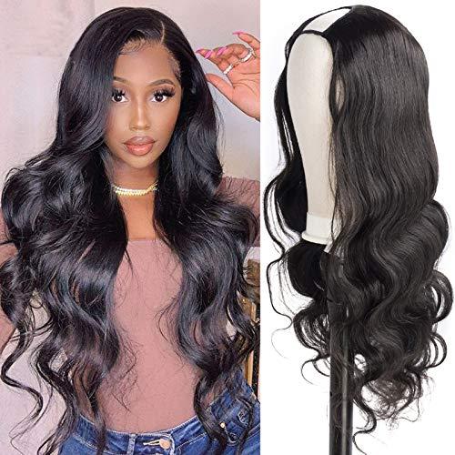 U Part Wigs Human Hair, 2x4 U Shape Clip in Machine Made Half Wig Body Wave Brazilian Remy Non Lace Wigs for Black Women 20inches
