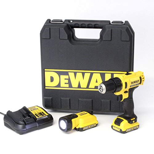 DeWalt XR Akku-Bohrschrauber Set DCD710D2F – Extrem kompakter Akkuschrauber mit 2-Gang-Vollmetallgetriebe & LED-Arbeitslicht – 1 x Akkubohrer Li-Ion 10.8 V + XR Akku-Lampe + 2 Akkus