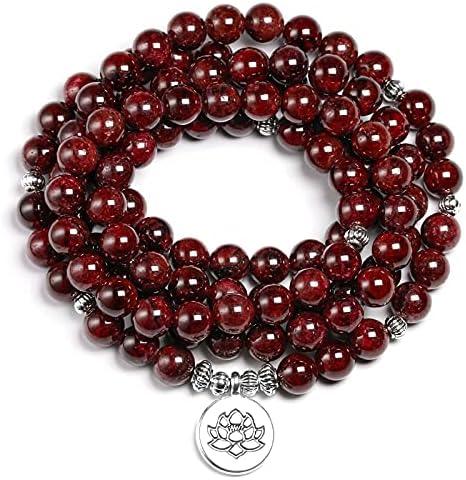 PHUONGDTB8888 Credence Long Beach Mall - Natural A Red Garnet 108 Bracelet 8MM Mala Beads