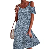 QWJYREMN Vestido De Mujer De Verano Summer Ladies Dress Summer Floral Print Short Skirt Vintage Loose Short Sleeve Dress Women Round Neck Off Shoulder Mid Dress Fashion Beach Dress,Sky Blue,XL