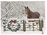 OSW Horse with Wreath Winter Scene LED Art Canvas Light up Picture with 6 Hour Timer 15.75 x 11.81 x 1
