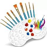 Juego de 10 pinceles, paleta de plástico de 6 piezas, bandeja de pintura acrílica para niños, adecuada para pintura de niños y adultos o fiestas de pintura de cumpleaños