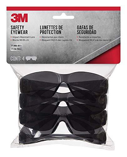 3M 90835 Outdoor Safety Eyewear, Black Frame, Gray Scratch Resistant Lenses (4 Pack) (2)
