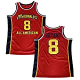 Men's McDonald's All American 8 Bryant Red Basketball Jersey Stitched (Red, L)