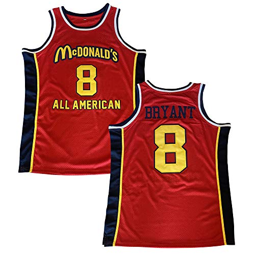 Men's McDonald's All American 8 Bryant Red Basketball Jersey Stitched (Red, XXL)