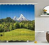 N/A Outdoor Duschvorhang Set Zimmerdekoration Bayerische Alpen mit Dorf Berchtesgaden & Watzmann Massiv Nationalpark Deutschland Badzubehör mit Haken 152,4 x 182,9 cm
