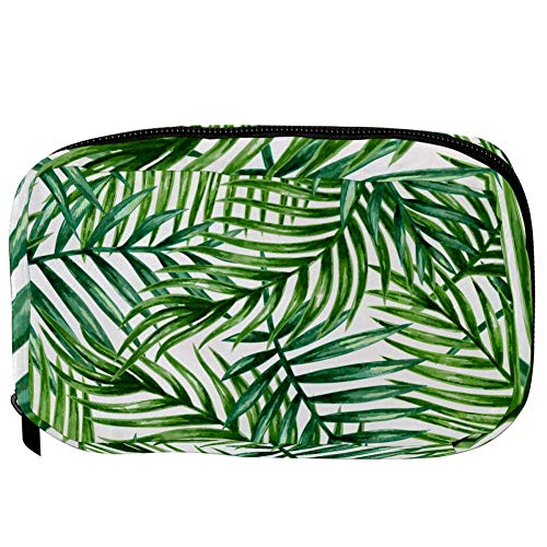 TIZORAX Cosmetic Bags Tropical Palm Leaves Handy Toiletry Travel Bag Organizer Makeup Pouch for Women Girls