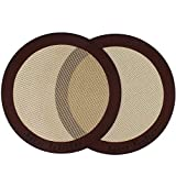 Silicone Baking Mats, 2-Pack Non-stick Silicone Baking Sheet Liner, Reusable Heat Resistant Baking Pastry Sheets for Bake Pans/Rolling/ Macaron/Cookie (Round 9', Brown)