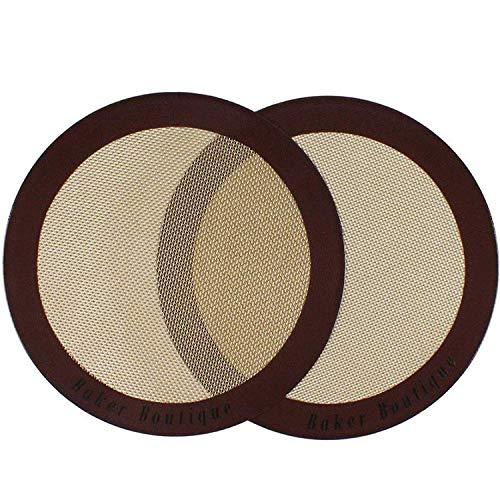 Baker Boutique Silicone Baking Mat Set of 2 Round Non Stick Reusable Flexible Heat Resistant, 9'