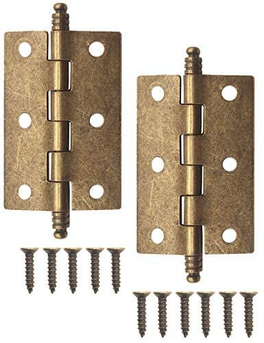 FUXXER® - 2 cerniere antiche, cerniere in metallo, cerniere in ferro, design classico, per armadi, armadi, cassette in stile vintage rustico, 83 x 43 mm, bronzo