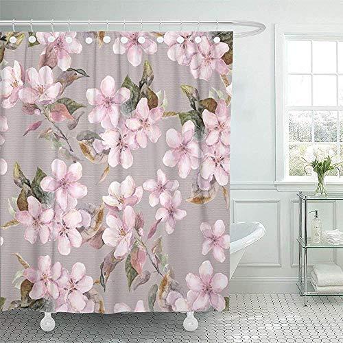 Not applicable Duschvorhang Bunte Blüte Fruchtblumen Apfel Aprikose Kirsche Japanische Sakura Shabby Floral Aquarelle Auf Grau Grau Duschvorhang,72X72 In