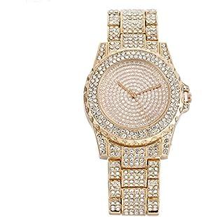 Round Lady Wrist Watch Quartz Round Dial Watch with Full Diamond Alloy Bracelet Diamante Watch Rose Or