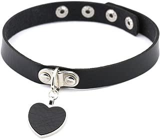 AKOAK Fashion Cool Rock Style Steampunk Punk Goth Heart-Shape Pendant Link PU Leather Collar Choker Necklace(Black)
