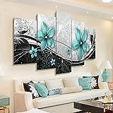 QIANJJ 5 Partes impresión Arte Pared decoración Hermosas Flores Azules Naciones Unidas para Pared diseño Fondo del Dormitorio