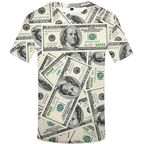 KYKU Dollar T Shirt Men USA Money T-Shirt 3D T-Shirt Funny Cool Mens Clothing (X-Large)