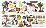 dekodino Wandtattoo Piraten Set mit Piratenschiff und Insel Wandsticker Deko