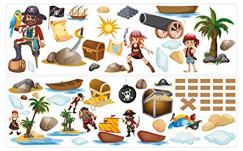dekodino® Wandtattoo Piraten Set mit Piratenschiff und Insel Wandsticker Deko