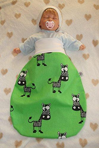 Schlafsack mit niedlichen Tiermotiven Zebra/grün (6-9 Monate)