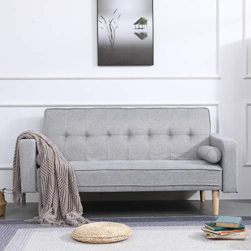 BOJU Modern Grey Sofa Bed 2 Seater Living Room Linen Fabric Double Seater Futon Sofa Couch Convertible for Friheten Sleeper Adult Dorm Bedroom Office Reception Room