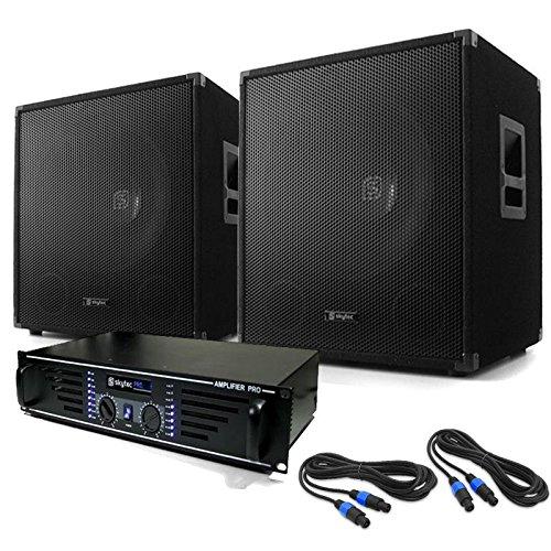 elektronik star 1200 Watt DJ PA Set Lewis 1200 Bass Tornado 1x AMP-1500 PA-Verstärker + 2X PA-Subwoofer