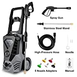 DREAMVAN 3500PSI 2.6GPM Electric High Pressure Washer Machine with 5 Interchangeable Connect Nozzles Adapter for Cleaning Car, Garden, Home, Driveways