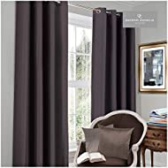 Gaveno Cavailia Luxury Thermal Fully Lined Pair of Eyelet BLACK OUT CURTAINS Charcoal 66x90 Inches