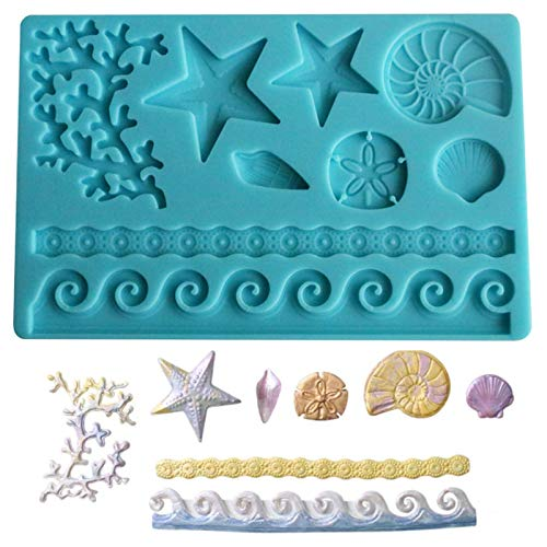 Oceano animali torta stampo in silicone fondente 3D stella marina conchiglia conchiglia decorazione caramelle sapone stampo per cioccolato pasta di zucchero caramelle pasticceria(colore casuale)