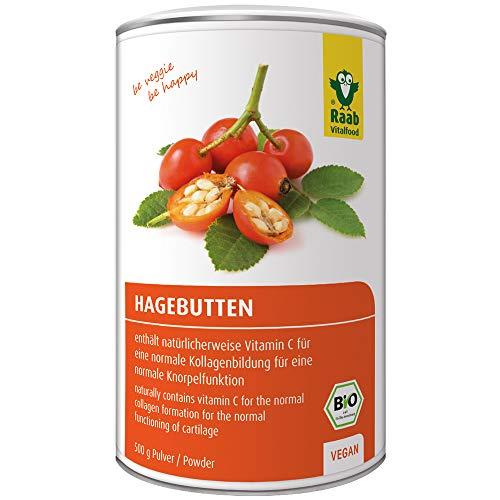 Raab Vitalfood Bio Hagebutten-Pulver, ohne Zusätze, vegan, mit natürlichem Vitamin C für eine normale Kollagenbildung und eine normale Knorpelfunktion, Hagebutte, 1er Pack (500 g Dose)