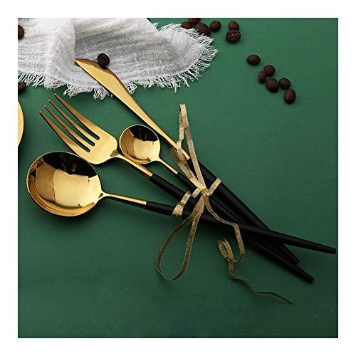 Hot Koop 4 stuks Spiegel licht Portugese zwart en goud Servies 304 roestvrijstalen bestek Kitchen Eten servies