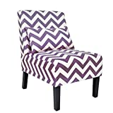 YOUTLITE Accent Chair Armless Elegant Design Single Sofa with Lumbar Pillow, Wood Leg, Mid-Century Fabric Chair,for Living Room/Bedroom, Single (Purple+White)