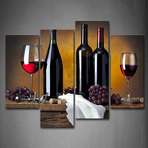First Wall Art-Grape Wine in Bottle Cups Kitchen Wall Art Painting