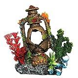 Decoraciones de Acuario Decoraciones del Tanque de Peces Lámpara de Aceite de Coral Aquarium Pearl Shell Truck Ornamento Creativo for el Juego de Pescado Accesorios de Acuario