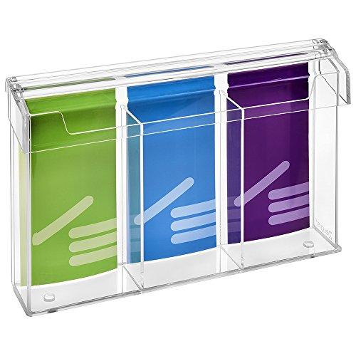3-Fach DIN Lang Prospektbox/Prospekthalter/Flyerhalter im Hochformat, wetterfest, für Außen, mit Deckel, aus glasklarem Acrylglas - Zeigis®
