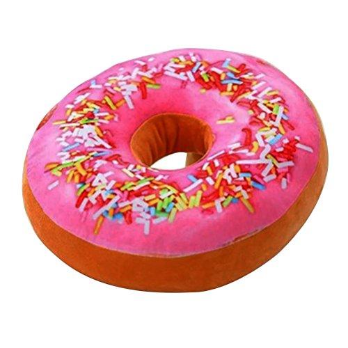 TOYMYTOY Almohada 3D Donut Asiento Suave y Acogedor Volver Amortiguador de Peluche Donut Throw Pillow Plush Toy para la Sala de Estar Dormitorio Decoración para el hogar 40cm (Rosa Icing Sugar)