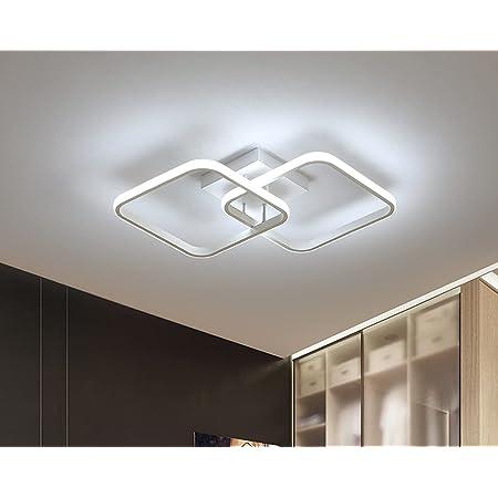 Osairous Plafonnier carré Moderne, LED lustres, Lampe de Plafond Acrylique 42W pour Cuisine Salle à Manger Salon Studio Bureau, 6500K Diamètre 59CM (Blanc)
