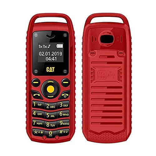QiKun-Home Super Mini 0.66 Pulgadas 2G Teléfono móvil B25 Inalámbrico BT Auricular Manos Libres Auriculares Desbloqueado Teléfono Celular Tarjeta SIM Dual Enchufe Rojo de la UE