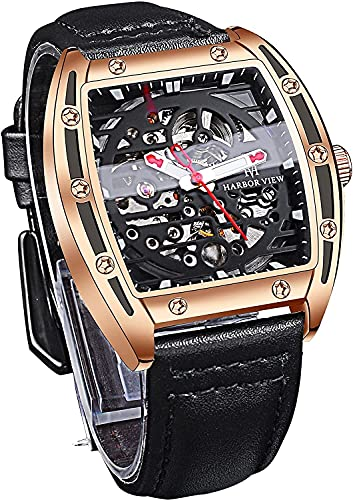 QHG MERTANTE AUTOMÁTICO Reloj DE AUTOMÁTICO SKEELTONETY 30M Relojes Impermeables para Hombres Reloj de Pulsera de Cuero Genuino Negro