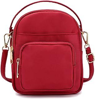 Pequeño Bolsa Bandolera para Mujer, Crossbody Bolsas de Hombro Nailon Moda Casual Bolso de Mano Bolsos Cruzados de Viaje Mensajero Small Cross Body Bags Fashion Women Shoulder Messenger Handbag (Rojo)