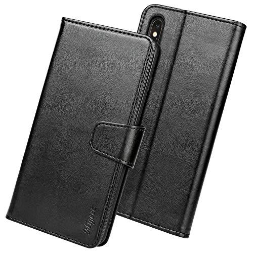 Migeec Handyhülle Kompatibel mit iPhone X/XS Leder Hülle Tasche Flip Cover Schutzhülle - Schwarz