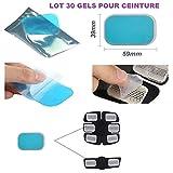 Gel patch pad pour ceinture electrostimulation abdominale, Electrostimulateur Musculaire/ Universel /compatible toute ceinture/ Gels Pad / feuille gel de remplacement electrostimulation/ 30 PIECES